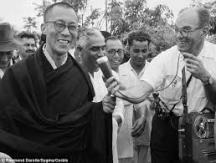 HH Dalai Lama with my father next to him and a journalist